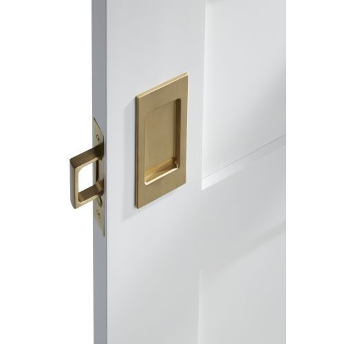 Baldwin PD006.PASS Santa Monica Passage Pocket Door Set with Door Pull from the Lifetime Polished Nickel Pocket Door Lock Passage