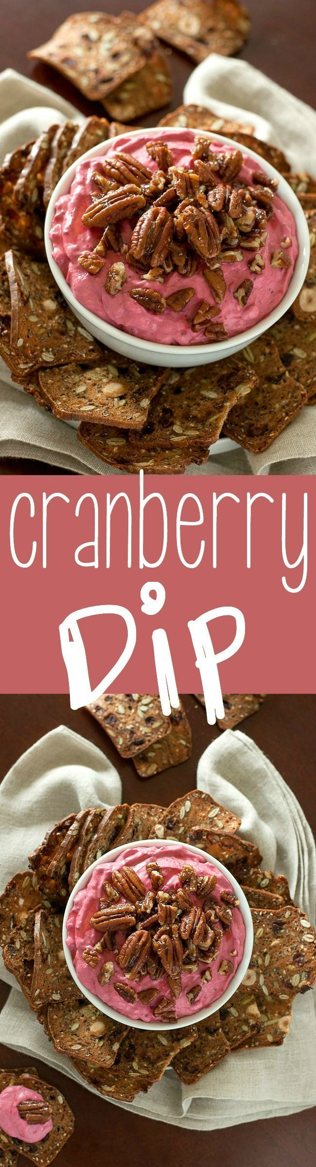 This fun and festive cranberry dip is swirled with cream cheese and honey and topped with the most delicious candied pecans. Perfect for the holidays!