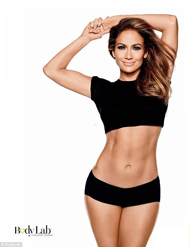 Gym bunny: Jennifer Lopez, 45, revealed her enviable body in a series of promotional fitness snaps for BodyLab - the company she has partnered with