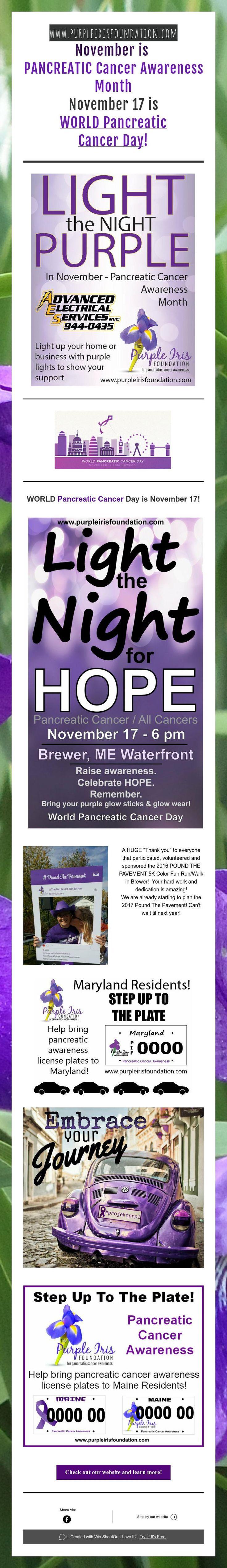 www.purpleirisfoundation.com  November is  PANCREATIC Cancer Awareness Month  November17 is  WORLDPancreatic  Cancer Day!