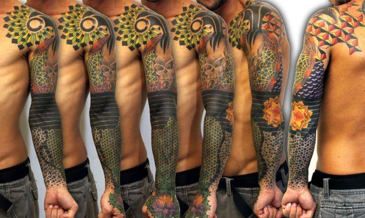 Geometric Colorful Sleeve Tattoo - Balinese Tattoo Miami