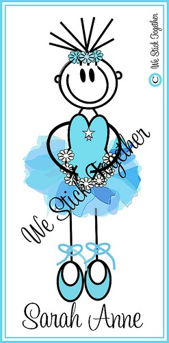 Ballerina Sarah Anne  All hand drawn by Jacqui  Find us on facebook https://www.facebook.com/westicktogetherstickers?ref=ts=ts