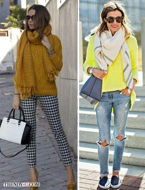 Желтый и горчичный свитер в сочетании с брюками / рваными джинсами