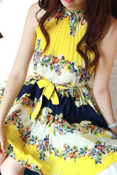 Fashion Sleeveless Yellow A Line Mini Dress_Dresses_Womens Clothing_Cheap Clothes,Cheap Shoes Online,Wholesale Shoes,Clothing On lovelywholesale.com - LovelyWholesale.com
