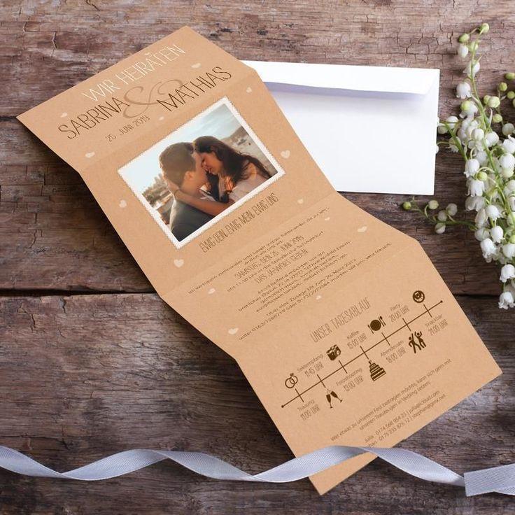 Hochzeitseinladung Vintage Letter mit Foto