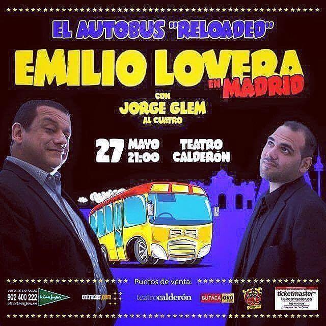 Llegó el día... Ponte guap@ y vente a el centro de Madrid que hoy es el Show de Emilio Lovera y jorge  Glem en el teatro Calderón. A las 21:00 comienza. Quedan entradas Generales que las puedes comprar en Taquilla directamente