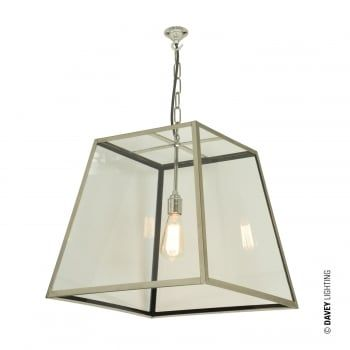 A Large Industrial Ceiling Pendant In Polished Nickel With Internally Glazed Sloping Sides An Open Top And Base This Looks Great All Interior