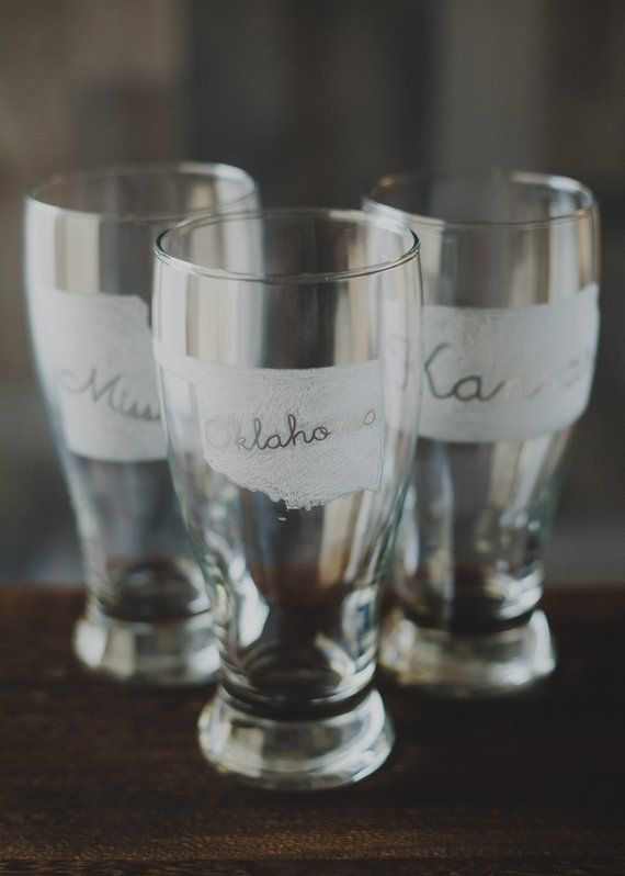 Oklahoma Etched Pilsner Beer Glass Personalized Glassware Etched Pilsner Drinking Glass Personalized Wedding Beer Glass Personalized Glassware Pilsner Beer