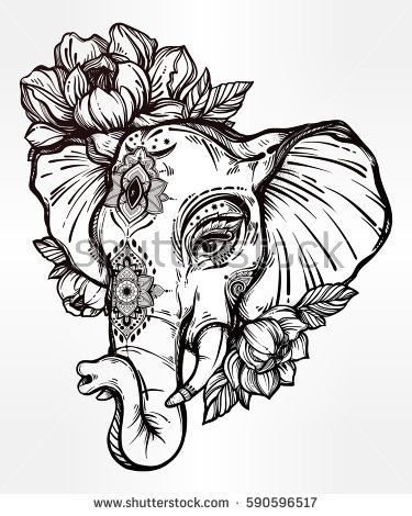 Decorative vector elephant with tribal ornaments and flowers. Ideal ethnic background, tattoo art, yoga, African, Indian, Thai, spirituality, boho design. Use for print, posters, t-shirts textiles