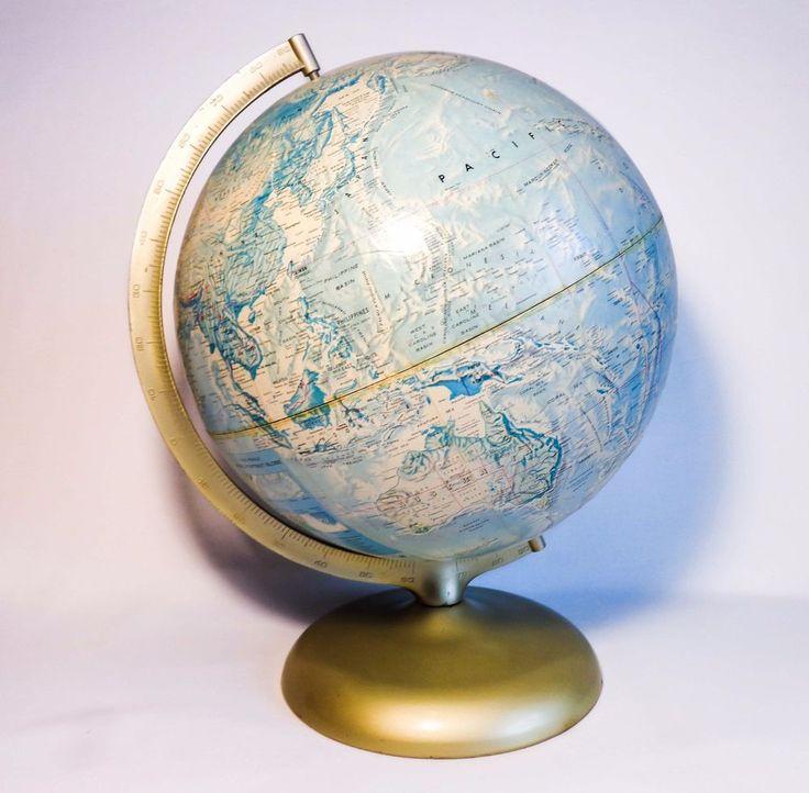 VINTAGE RAND McNALLY WORLD PORTRAIT 12 GLOBE