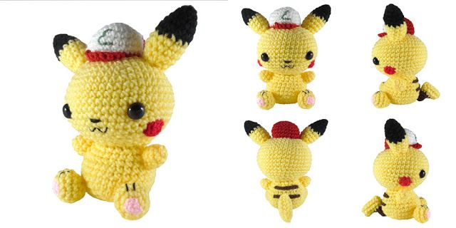 """Hey, it's Friday, so here's a free pattern. It's a 7"""" tall amigurumi of Pikachu with an Ash hat. The pattern is available on Ravelry or you can find it written below. If you have any questions, feel f"""