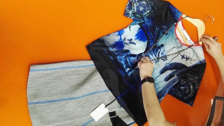 Mini and shirt with a neckless.   Curator: María Fernanda Hernández.  Designers:  Mini - Tela  Shirt - Klements (London)