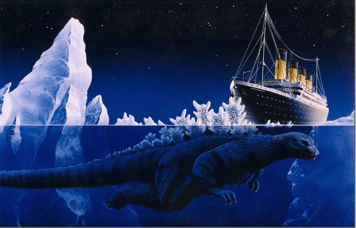 Godzilla Titanic - Summer 2017: The Real, Ice Ice Baby, Funny Pictures, Pictures This, Sinks, Godzilla, Sea Monsters, Fans Art, True Stories