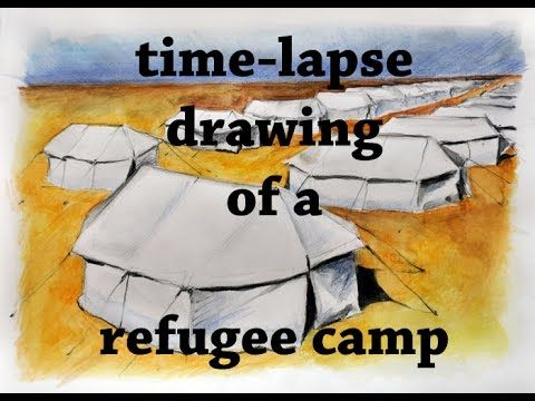 Time lapse drawing of a Refugee camp