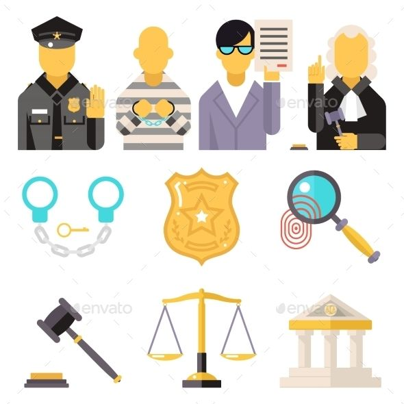 Courthouse Law Icons Set Justice Symbol Concept by Meilun Courthouse Law Icons Set Justice Symbol Concept City Background Flat Design Vector Illustration