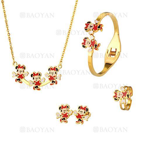 juego collar ,pulsera ,anillo y aretes de ratas Minnie en acero dorado inoxidable para ninas-SSNEG053092
