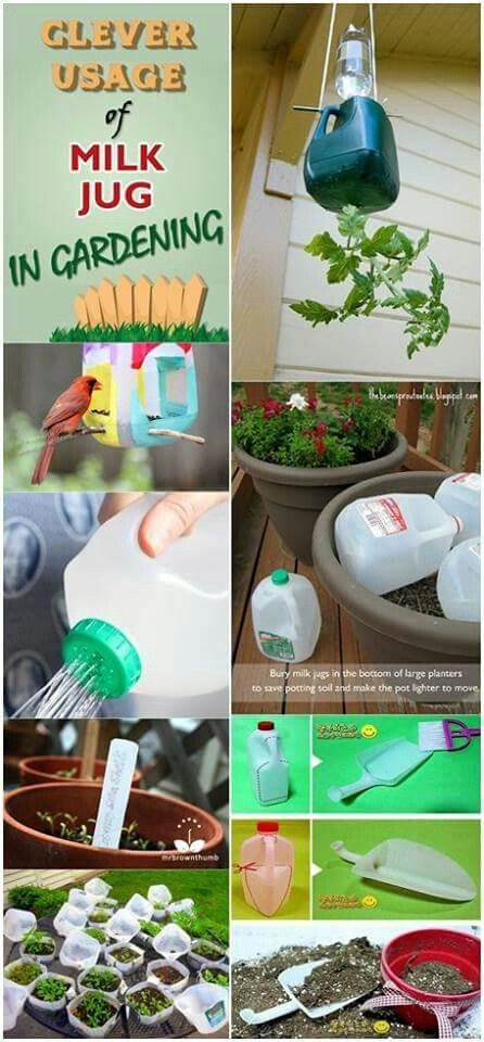 {re-use it! great modeling for kids!} Gardening with milk jugs