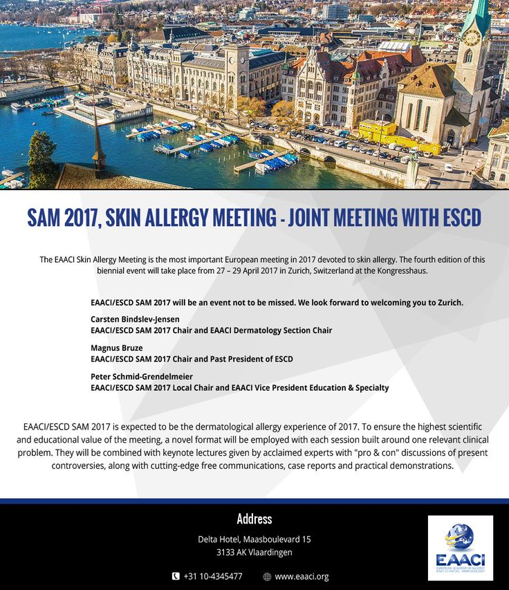 The EAACI Skin Allergy Meeting is the most important European meeting in 2017 devoted to skin allergy which will take place from 27 – 29 April 2017 in Zurich, Switzerland at the Kongresshaus. To attend the meeting and read the pointers please visit this website.