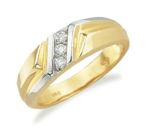 Best Two tone wedding ring that has three diamonds at the center You can have the