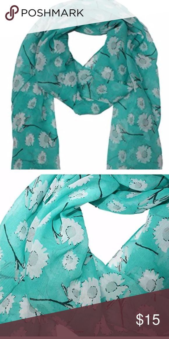 "Cejon Scarf Wrap Turquoise Daisy Print NEW You will receive the exact item as pictured, please look closely at pictures. First 2  pictures  are stock photos. Brand new, tags attached.  Cejon Women's Scarf Wrap Rectangle Turquoise Daisy Print  100% Acrylic Hand washable Rectangle 72"" x 20"" Hand washable Lightweight  Customer service is our number one priority. If for any reason you are not satisfied, please contact us. Cejon Accessories Scarves & Wraps"