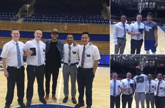 Shortly after Duke's basketball team had a 98-45 victory over Augustana at an exhibition game, LDS missionaries in North Carolina had a special opportunity after the game—to meet the team's stars and share a bit about the gospel.
