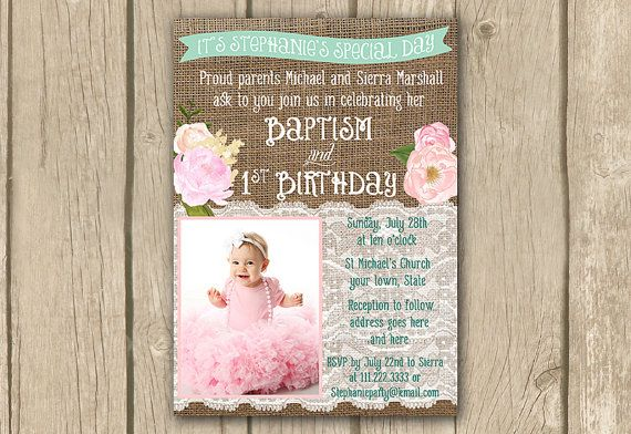 a DIY PRINTABLE baptism and 1st birthday invite in pink and mint green with space for a photo, celebrating your little girls special day.