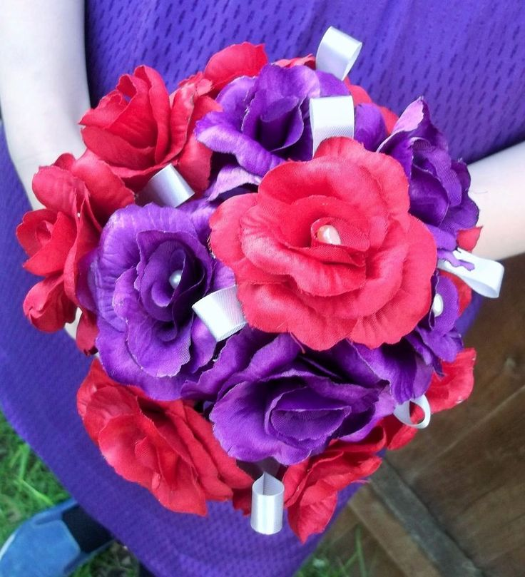 Rose wedding bouquet with red and purple handmade roses