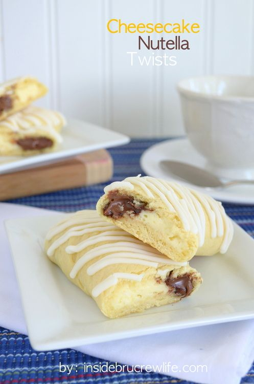 Cheesecake Nutella Twists - two fun flavors wrapped in a crescent roll and drizzled in chocolate http://www.insidebrucrewlife.com