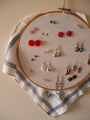 Like the embroidery hoop for earrings...maybe not all the extra fabric around it though