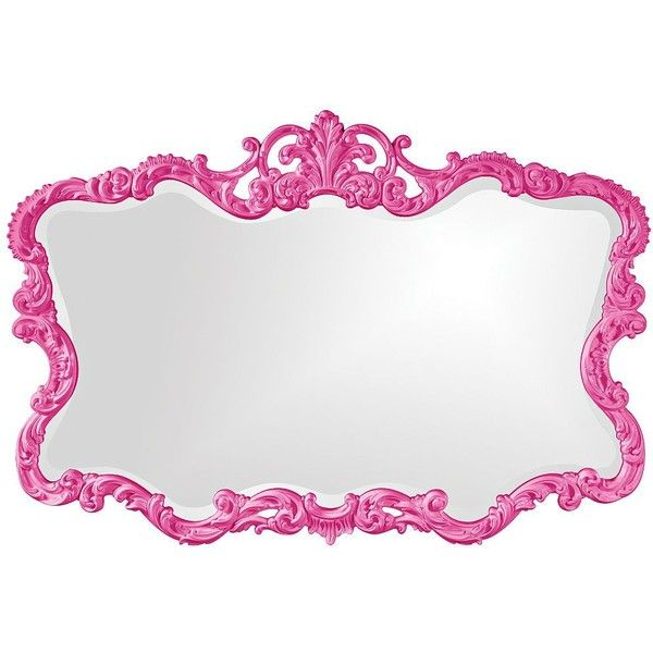 """Howard Elliott Talida 38"""" x 27"""" Hot Pink Wall Mirror (400 CAD) ❤ liked on Polyvore featuring home, home decor, mirrors, pink, wall mirrors, wall mounted mirror, scroll mirror, howard elliott and howard elliott mirror"""