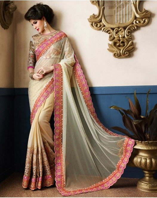 Impressive Cream Color Art Silk Designer Saree  #designersareeswedding #latestdesignersarees #indiandesignersarees #designersareescouture #designersareesforgirls #designersarees2017 #floraldesignersarees #plaindesignersarees #whitedesignersarees #designersareespartywear #bollywooddesignersarees #simpledesignersarees #vogueindia #lakmefashionweek #bollywood #fashion #shopping #usa #india #indianwear