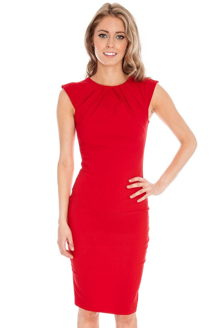 Pleated Neckline Cap Sleeve Bengaline Dress in the style of Kim Kardashian - Red - Front