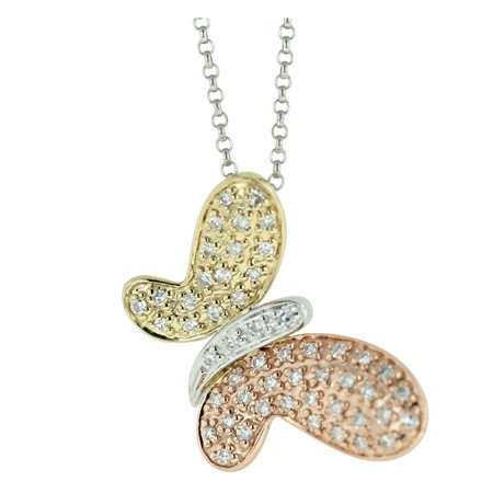 Tri-color Gold and Diamond Butterfly Necklace (Retail $629) $449.00