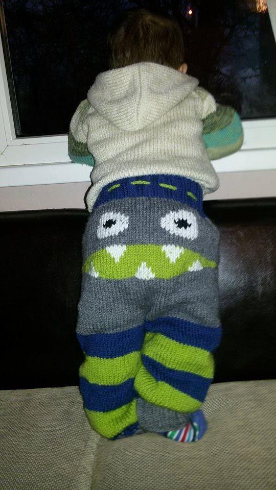HECHO por encargo!  Monstruo pantalones de punto, Knit del bebé monstruo de pantalones, pantalones de bebé, tejida a mano Unisex para niños Monster Booty pantalones