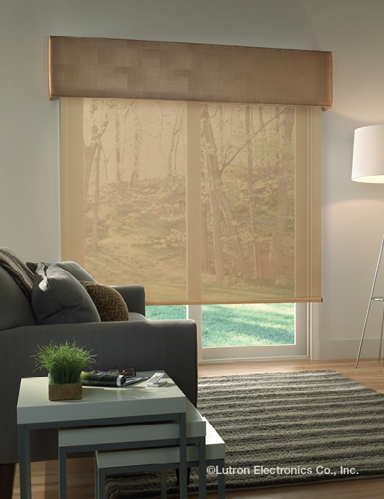 Maintain straight lines with a roller shade and straight cornice. www.lutron .com