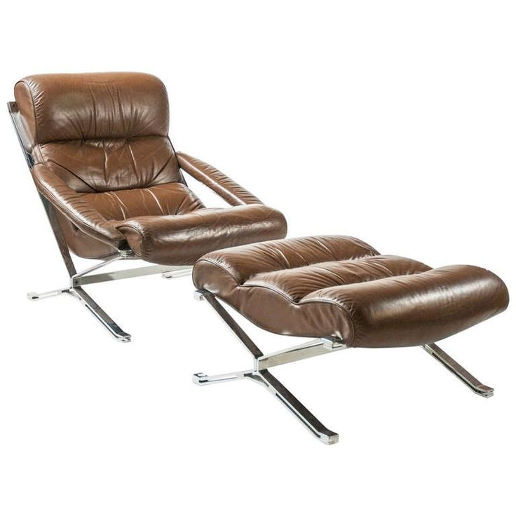 1960s leather and steel armchair and ottoman by Giulio Moscatelli for Formanova 1