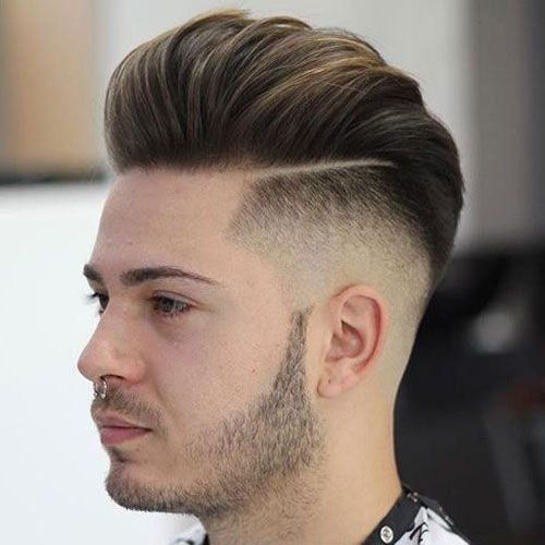 Pompadour Fade with Hard Part and Beard