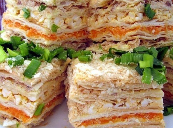 ЗАКУСОЧНЫЙ ТОРТ «НАПОЛЕОН»   Самые вкусные кулинарные рецепты