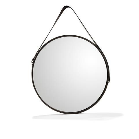$19  Round Mirror Materials: wire, glass, leather strap, mdf backing. Measuring: 55cm diameter | Kmart