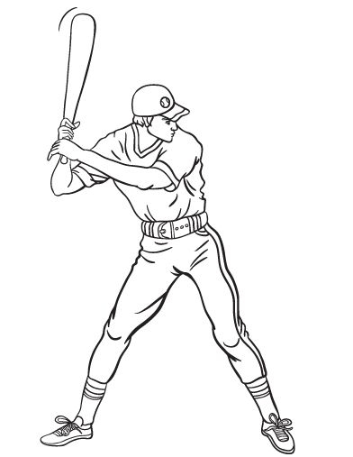 Printable baseball player coloring page free pdf download for Sports coloring pages pdf