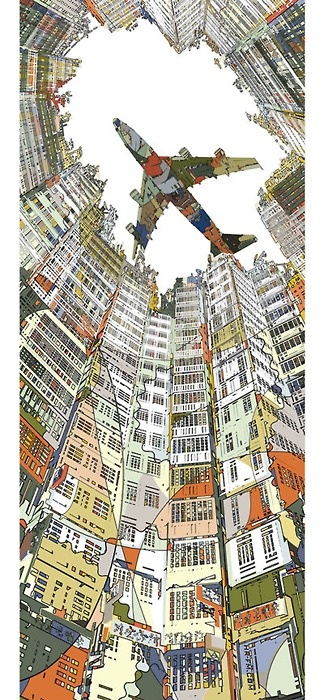 """""""Kowloon Walled City"""" by Japanese illustrator HR-FM.   http://arsvitaest.tumblr.com/post/13141107738. - See More illustrations on the   MIxed Illustrations Board  """