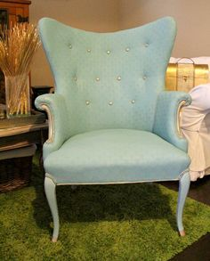 Painting Upholstery with Chalk Paint® | A beautiful chair given a complete makeover with Provence Chalk Paint® decorative paint by Annie Sloan | By Fresh Idea Studio