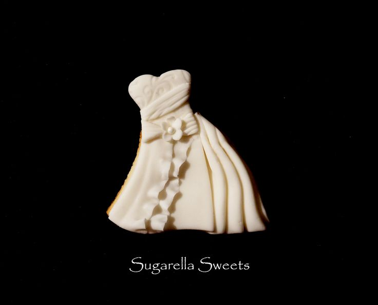 Wedding dress cookie favors.
