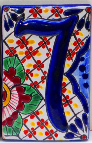 House numbers spanish tile colorful tile home decor for Table 52 number