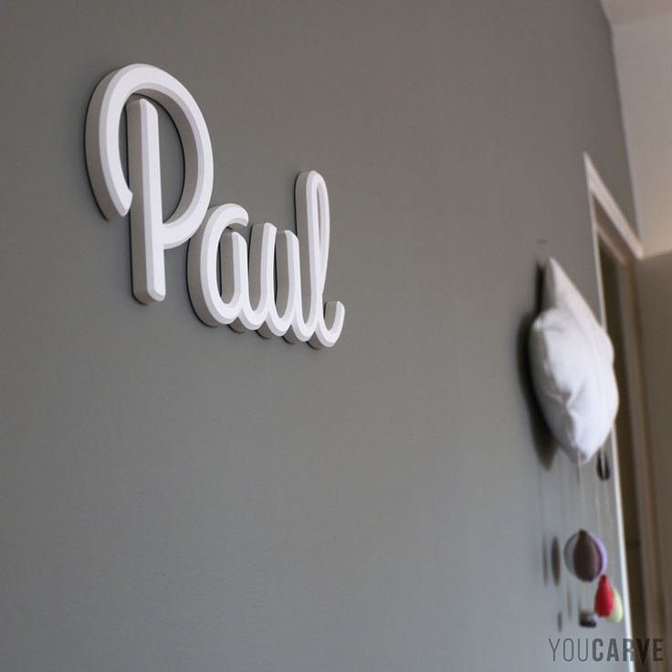 pr nom enfant sur mur de chambre lettres en pvc expans blanc p 10 mm avec chanfreins. Black Bedroom Furniture Sets. Home Design Ideas