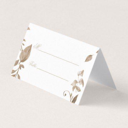 Romantic Gold Botanical Monogram  Place Card - vintage wedding gifts ideas personalize diy unique style