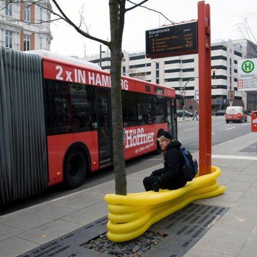 mobiliário reciclado com conduites