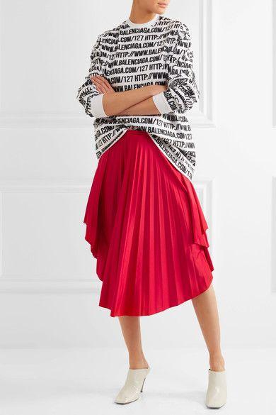 Balenciaga - Convertible Pleated Stretch-satin Halterneck Dress - Red - FR40