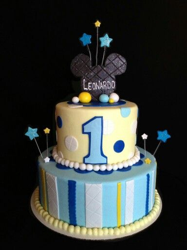 1st Birthday Mickey Mouse Cake I Made For A Little Boy Named Leonardo Who Was Turning 1 Year Old