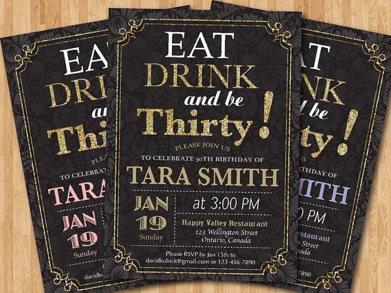 Adult Gold Glitter Birthday Invitation. 20th 30th 40th 50th 60th Any Age Birthday invites. Women birthday party. Printable digital DIY. on Etsy, $10.00